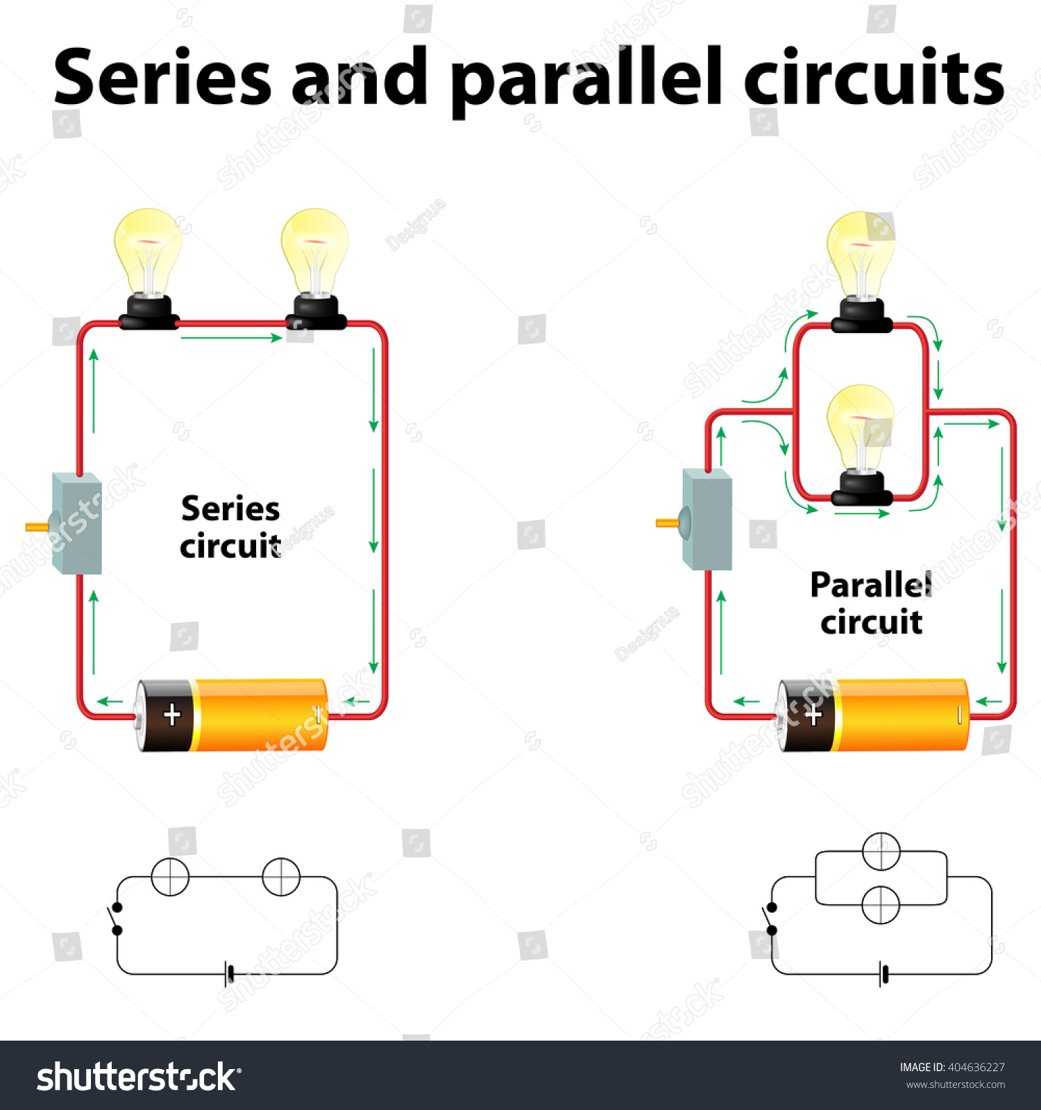 Series And Parallel Circuits Stock Photo