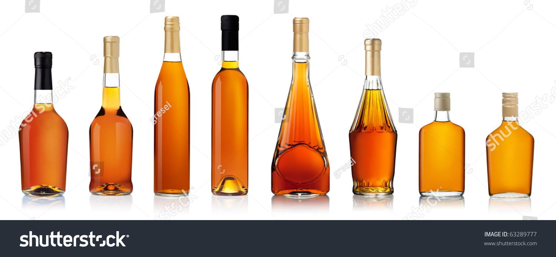 Set Of Brandy Bottles Isolated On White Background Stock Photo 63289777 : Shutterstock