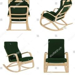 Green Rocking Chair Swing On Stand Set Dark Isolated Stock Illustration