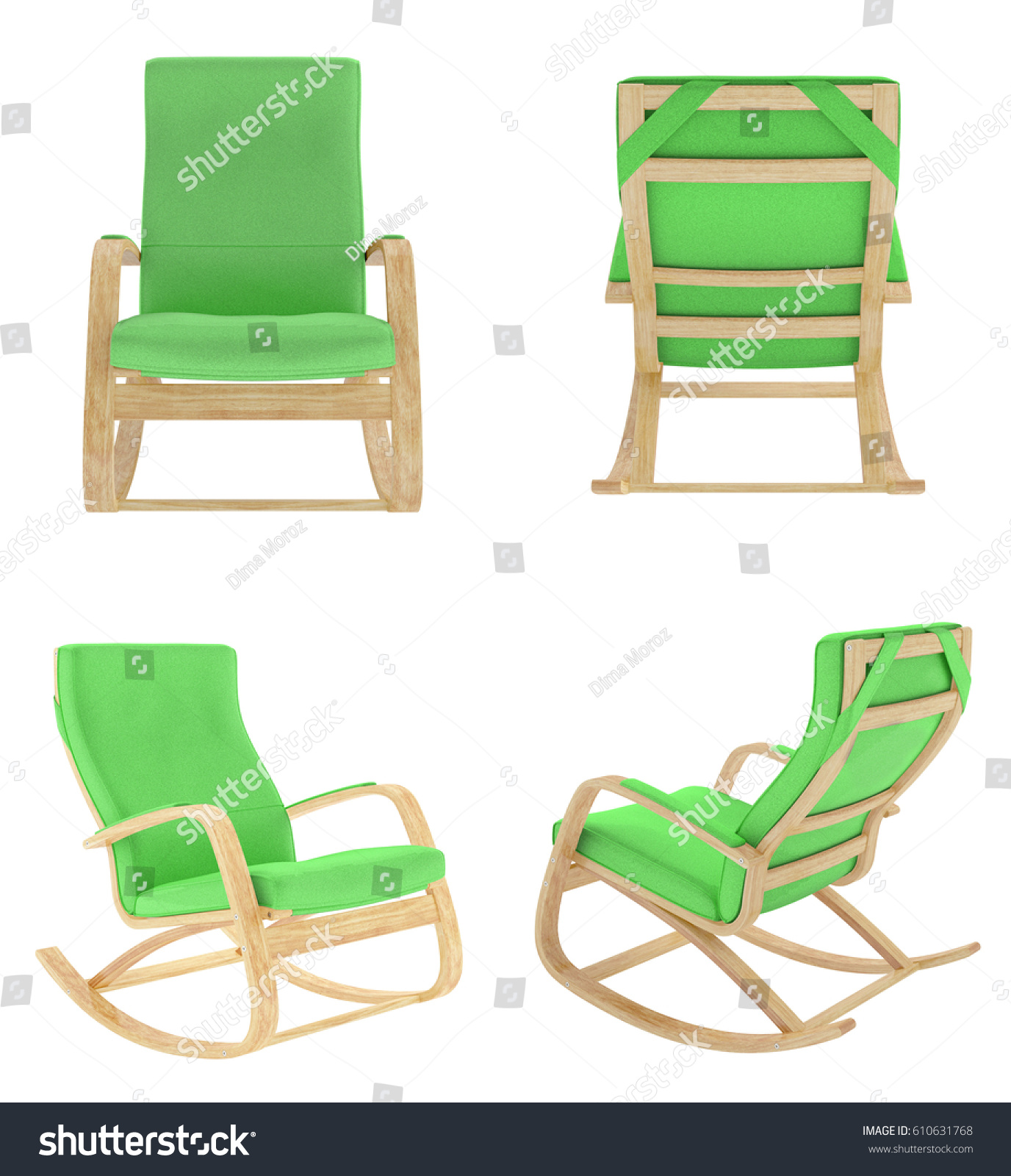 green rocking chair herman miller chairs vintage set isolated on stock illustration