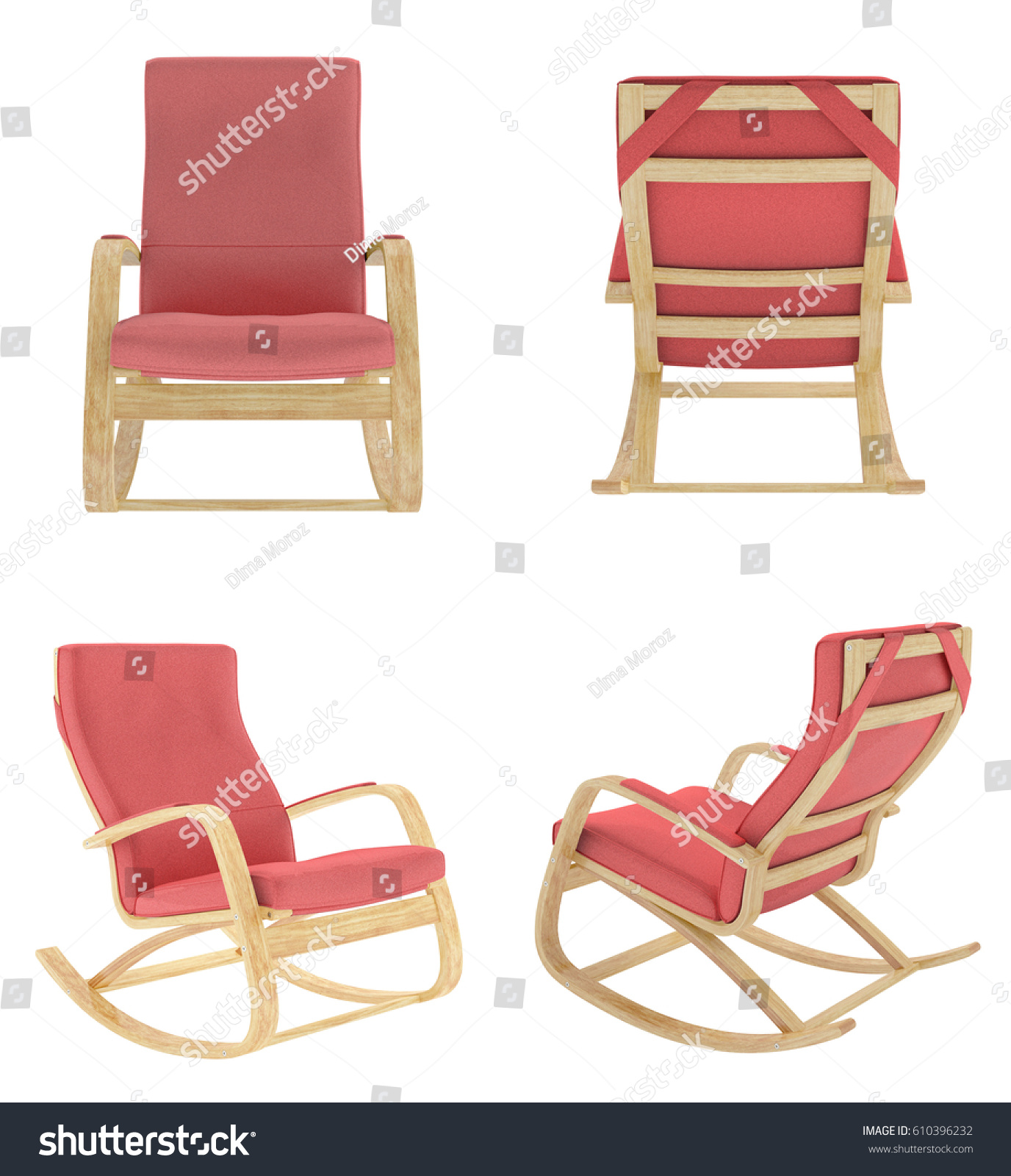 Red Rocking Chair Set Red Rocking Chair Isolated On Stock Illustration