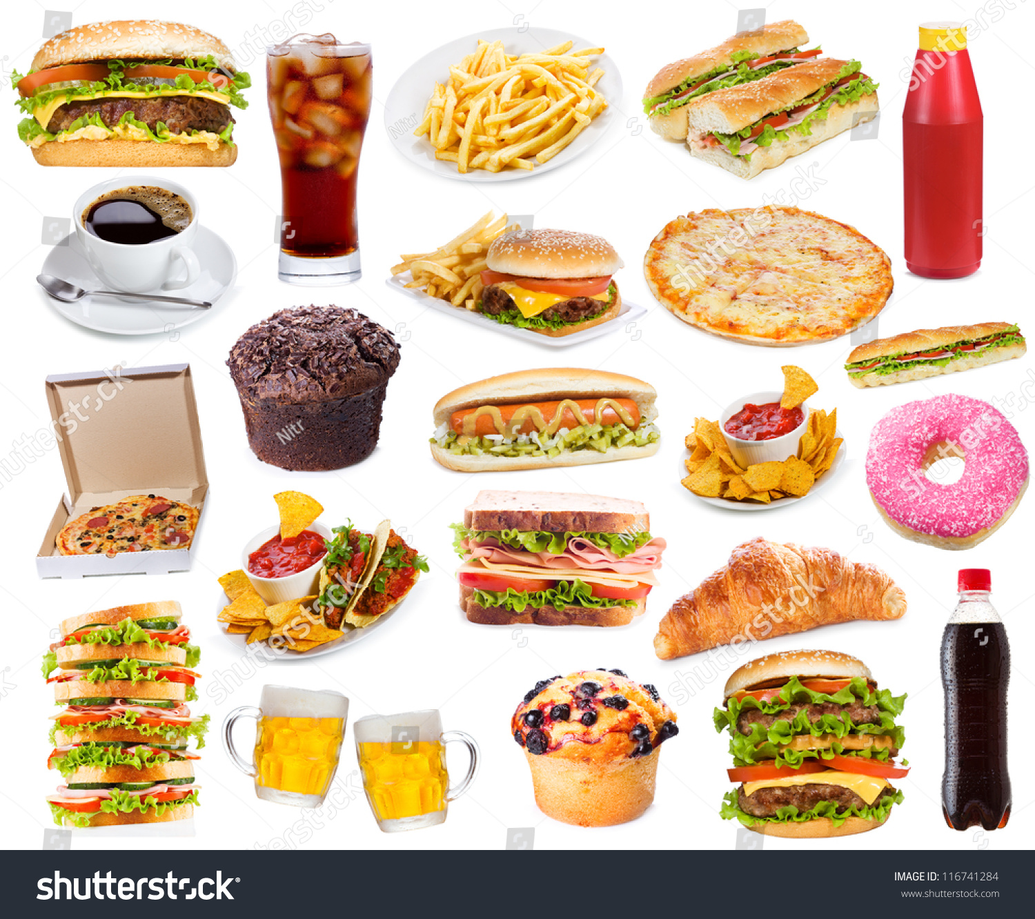 Set Fast Food Products On White Stock Photo