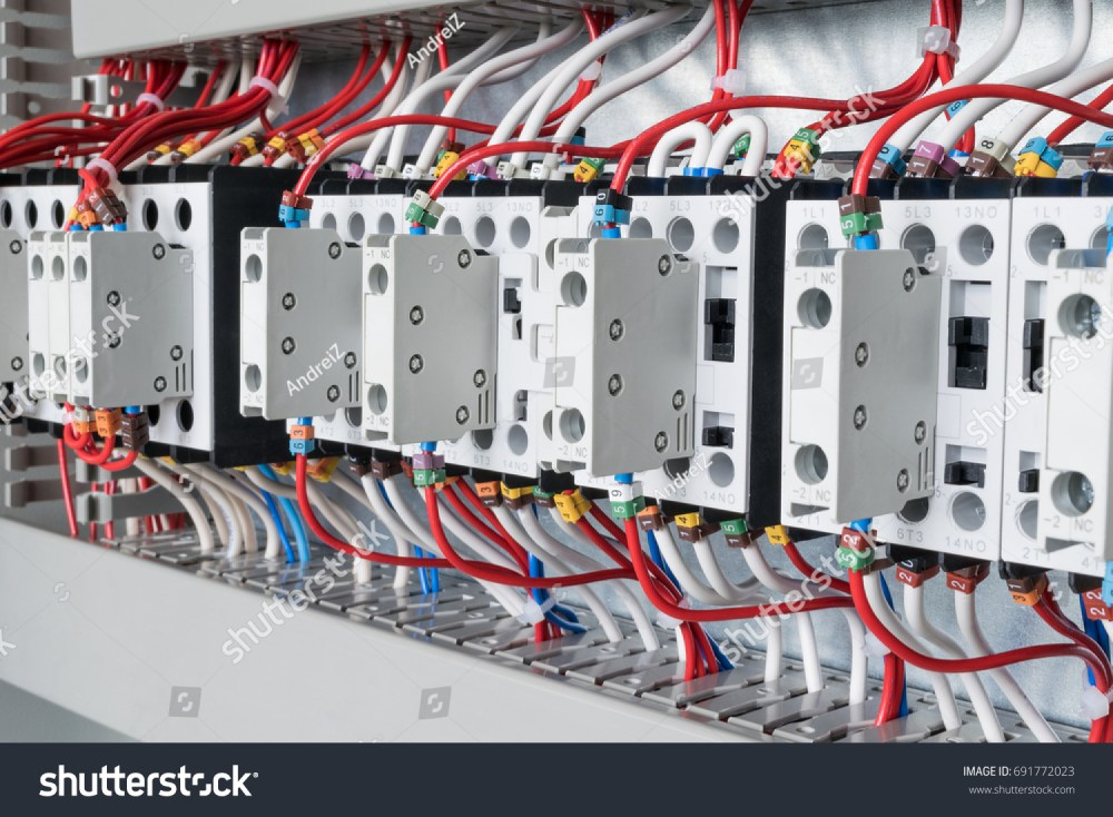 medium resolution of several contactors arranged in a row in an electrical closet the contactors connected wire number