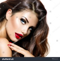 Sexy Beauty Girl Red Lips Nails Stock Photo 165341759 ...