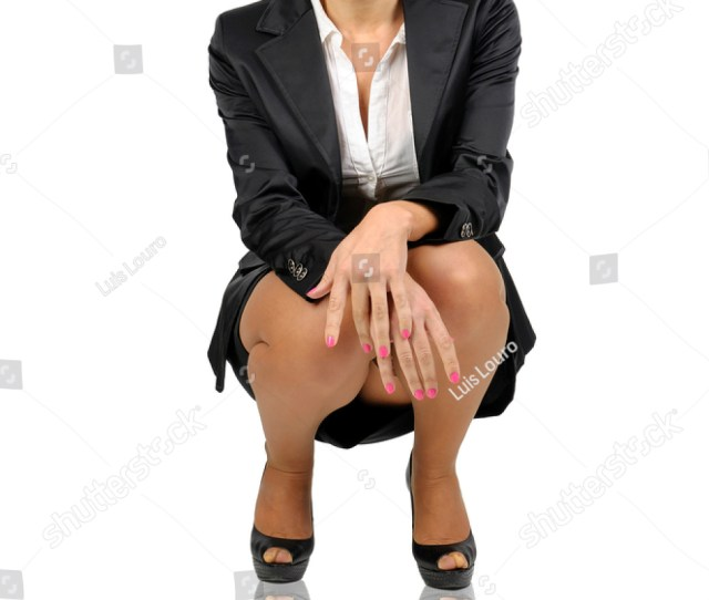 Sexy Business Woman Posing Isolated In White