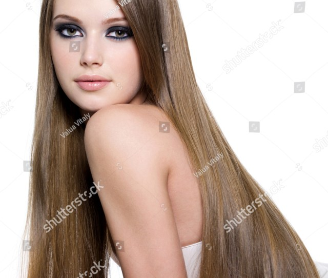 Sexy Girl With Beautiful Long Straight Hair Isolated On White