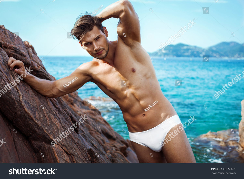 Sexy Man Underwear Posing On Sea Stock Photo 327355691