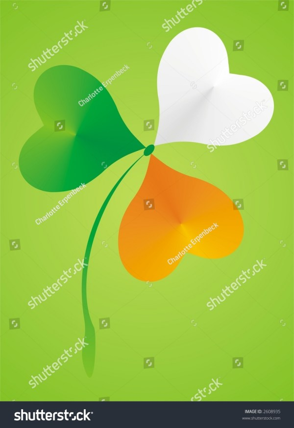 Shamrock Clover With Colors Of Irish Flag St