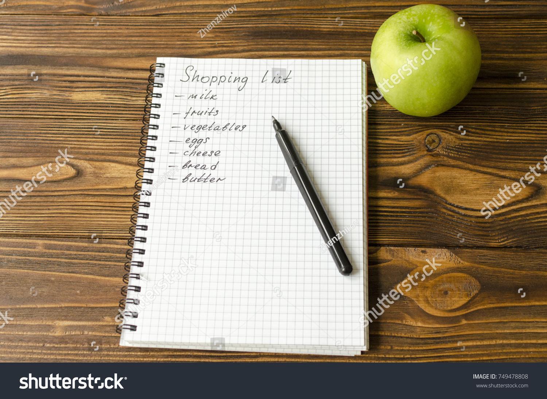 shopping list phrase notepad