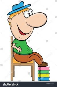 Short Man Cartoon Character Sitting On Stock Illustration ...