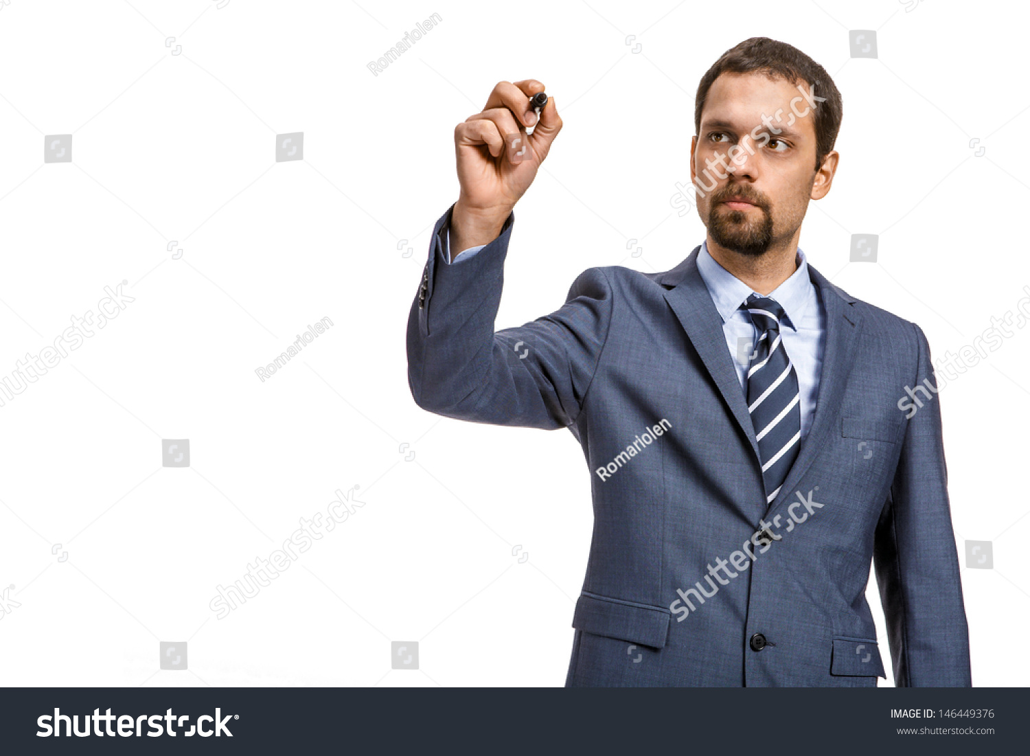Shrewd Entrepreneur Describes ... -/ Attractive Man In An Expensive Suit Is Going To Write - Isolated On White Background Stock Photo 146449376 ...