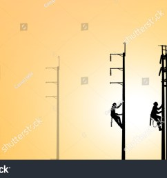 silhouette electrical engineers working on electricity pylon high tension power line repairs and maintenance on blurry [ 1500 x 975 Pixel ]