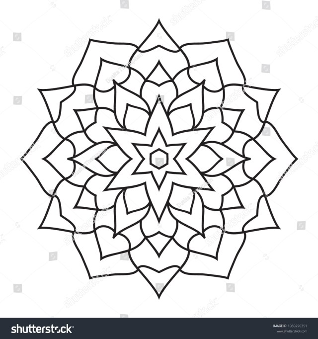 Simple Basic Easy Mandalas Coloring Pages Stock Illustration