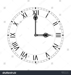 simple clock face with roman numerals illustration isolated on white background raster version  [ 1500 x 1600 Pixel ]