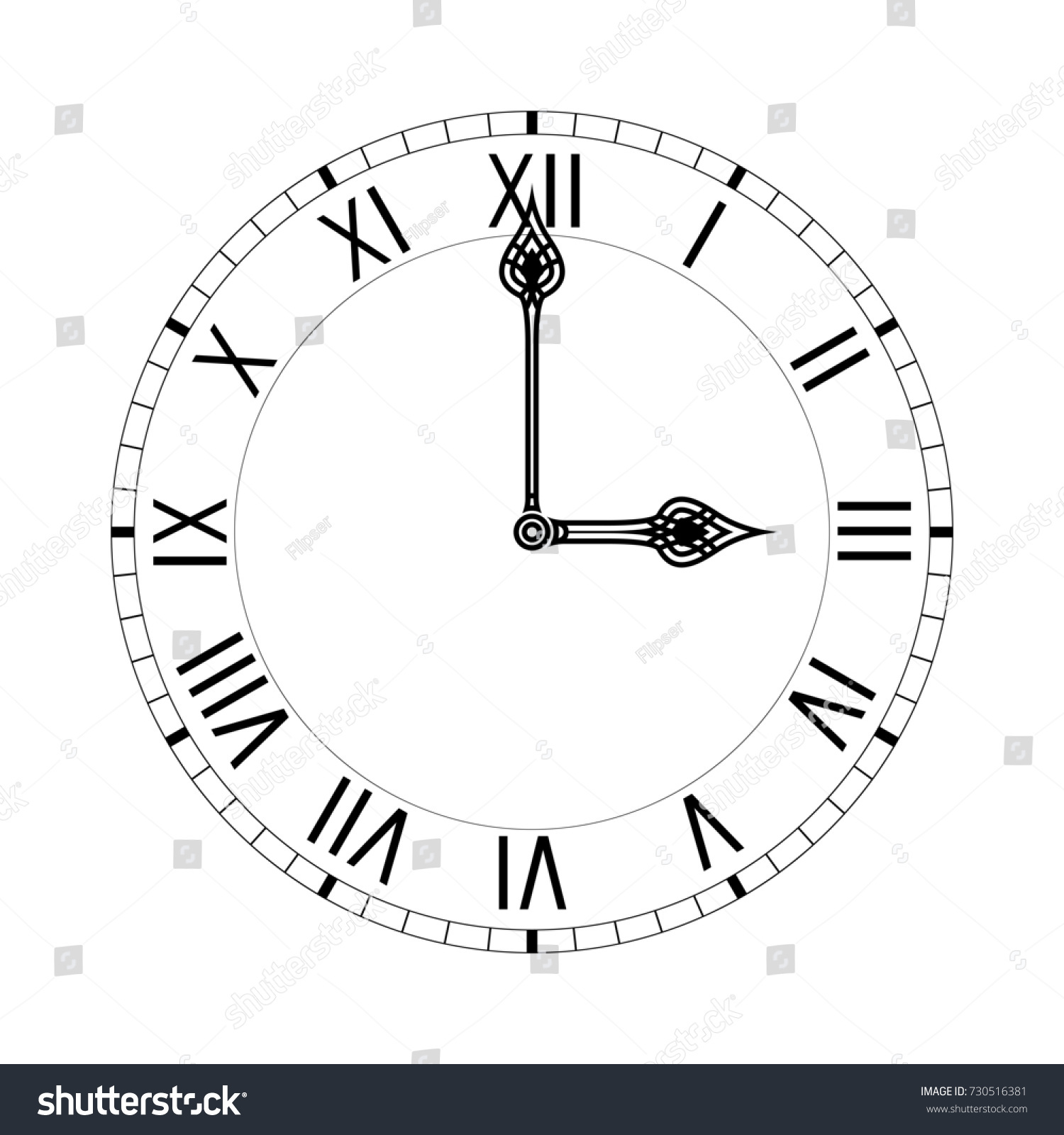 hight resolution of simple clock face with roman numerals illustration isolated on white background raster version