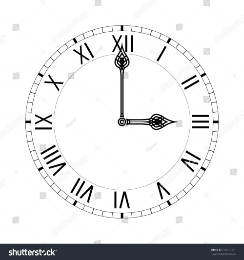 small resolution of simple clock face with roman numerals illustration isolated on white background raster version