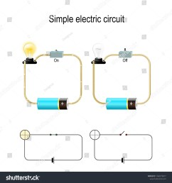 simple electric circuit electrical network and lighting lamp switch light bulb wire and battery illustration for physical educational and science use [ 1500 x 1600 Pixel ]