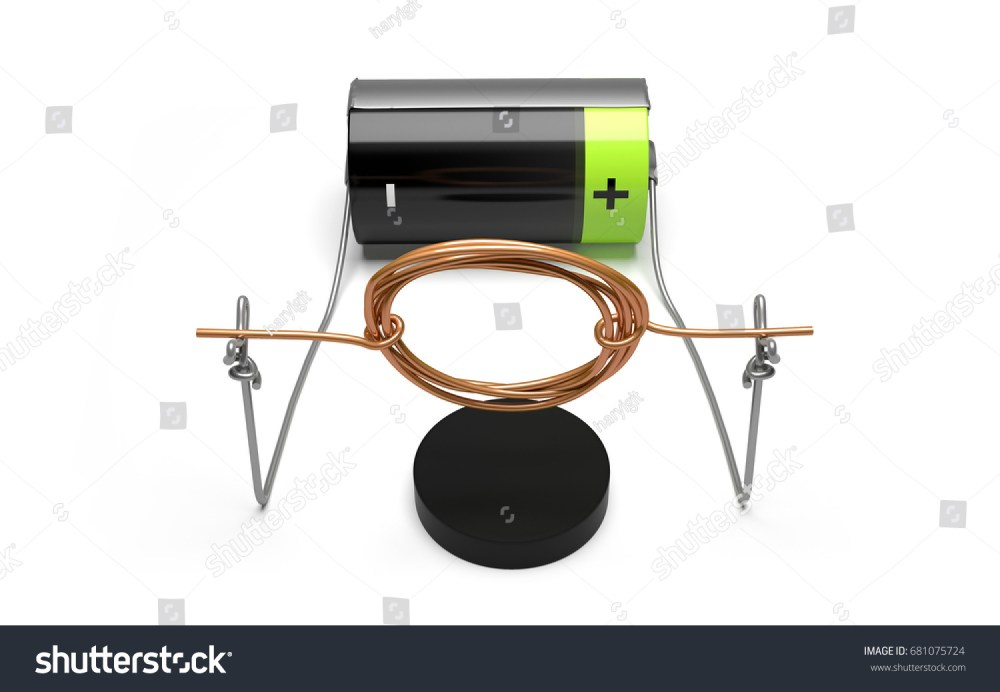 medium resolution of simple electric motor experiment with cell and magnet front view 3d render