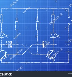 simple flip flop circuit hand drawn on blueprint background  [ 1500 x 1300 Pixel ]