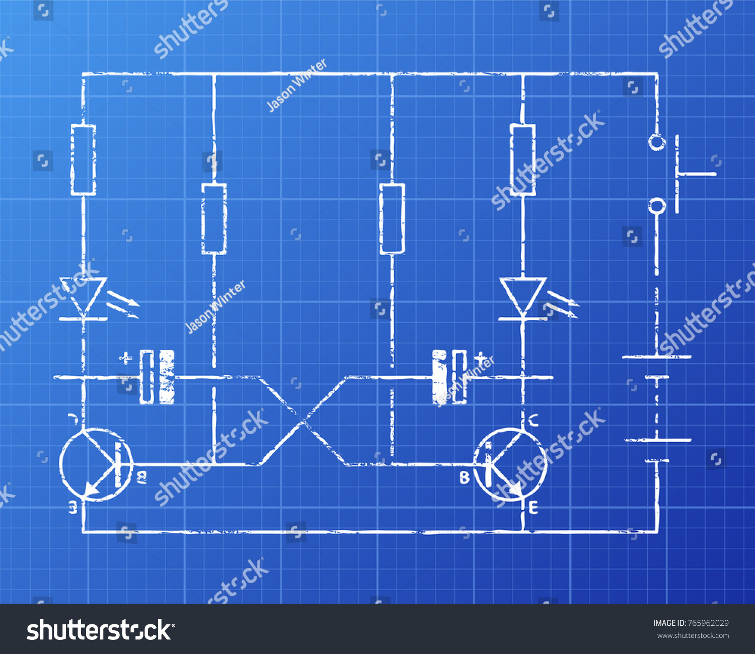 hight resolution of simple flip flop circuit hand drawn on blueprint background