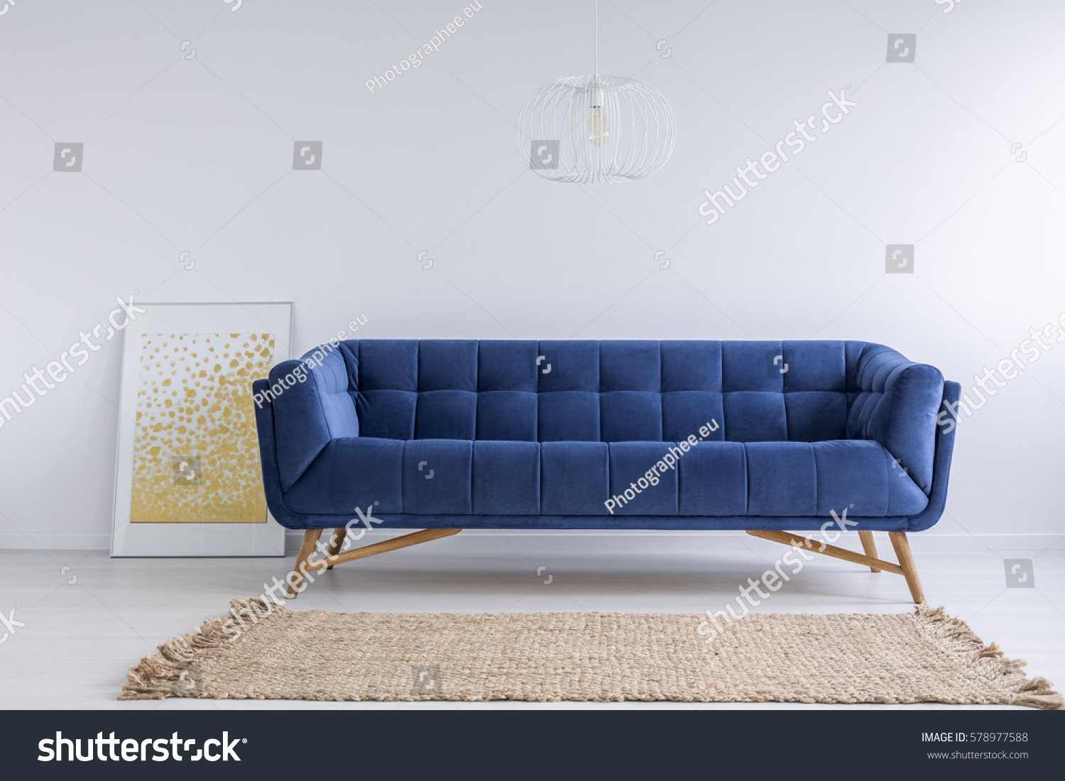 white and blue sofa fabric sofas simple room rug stock photo 578977588