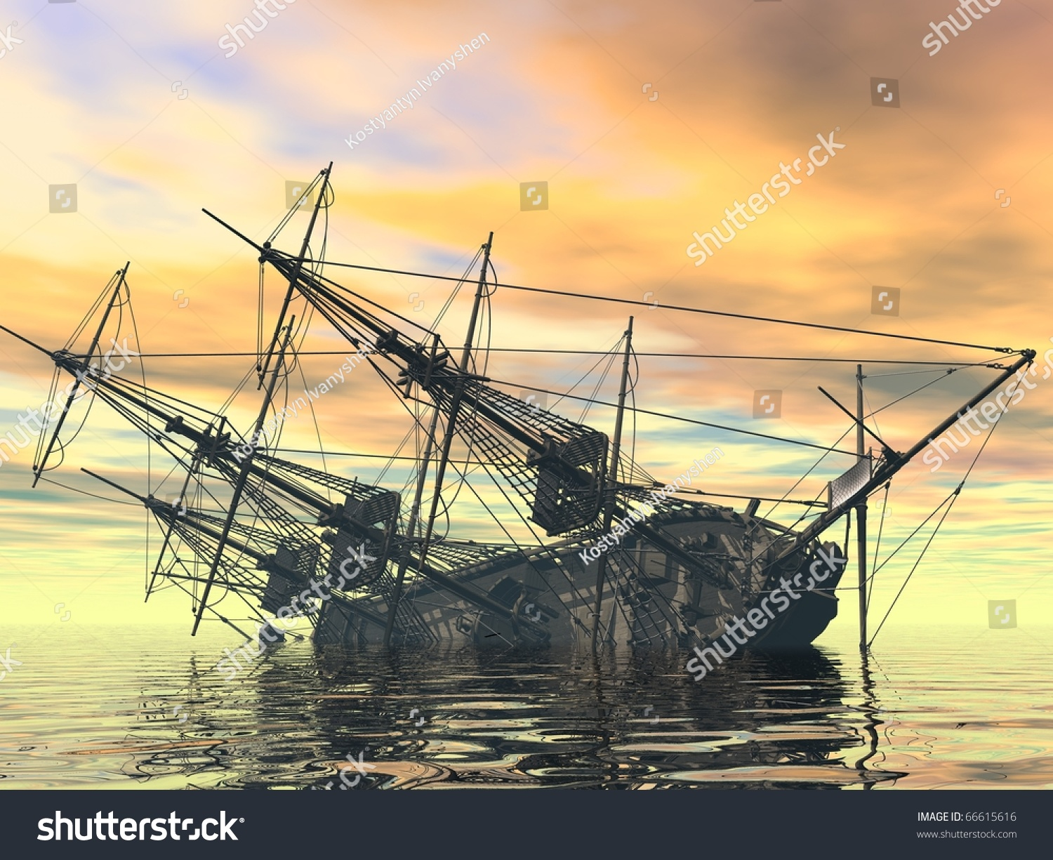 Sinking Ship Stock Illustration