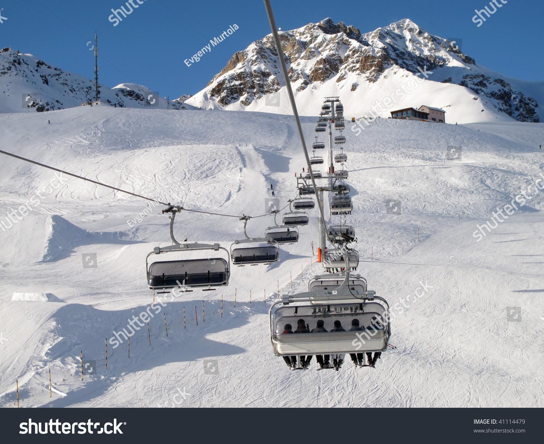 ski chair lift revolving best price chairlift skiers switzerland stock photo 41114479