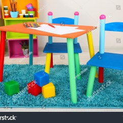 Little Kid Table And Chairs Chair Covers From Ikea Small Colorful Kids Stock Photo