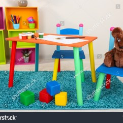 Little Kids Table And Chairs Chairscape Small Colorful Stock Photo