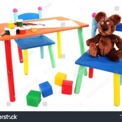 Little Kid Table And Chairs Children S White Wooden Rocking Chair Small Colorful Kids Stock Photo