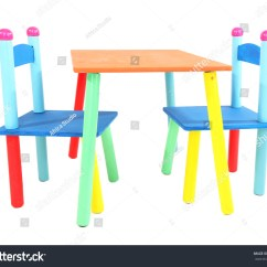 Little Kids Table And Chairs Diy Wood Chair Cushion Small Colorful Stock Photo