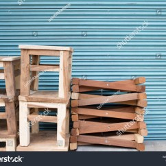 Chair Design Bangkok Counter Height Upholstered Chairs Small Wooden Simple Against Stock Photo Edit Now Blue Wall At Wongwian Yai Thailand