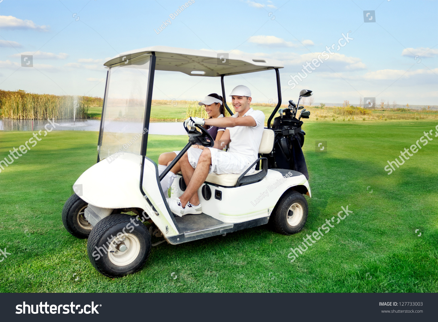 golf cart insurance turn signal switch wiring diagram smiling and happy couple driving a with clubs on