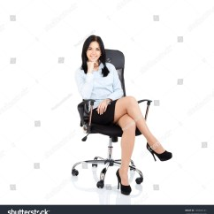 Woman Sitting In Chair Recliner Wooden Smiling Business Young Stock Photo