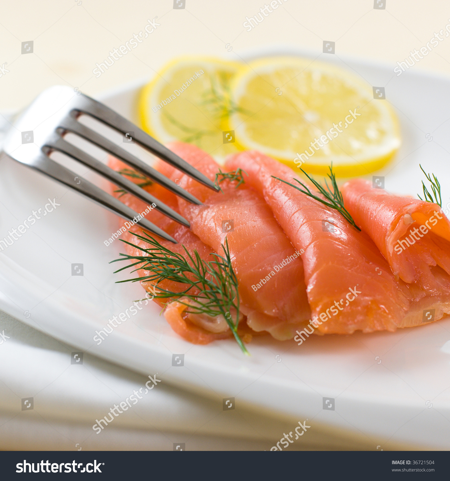 Smoked Salmon With Dill And Lemon Stock Photo 36721504 : Shutterstock