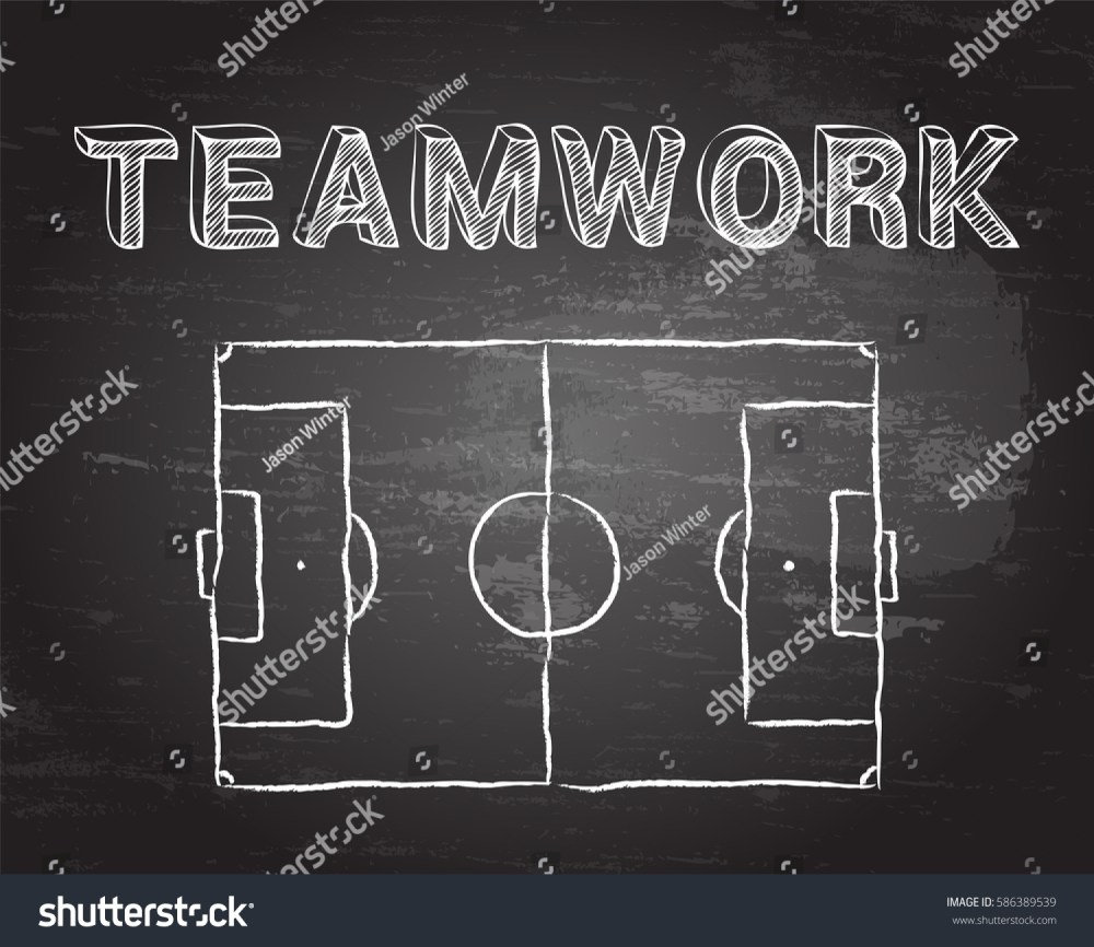 medium resolution of soccer football pitch diagram and teamwork word on blackboard