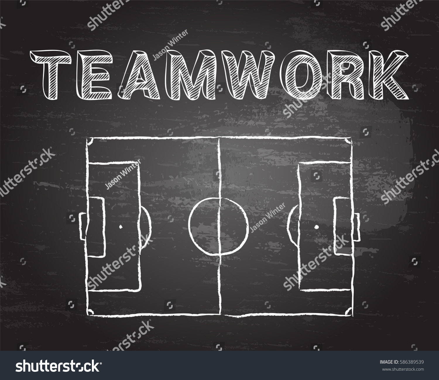 hight resolution of soccer football pitch diagram and teamwork word on blackboard