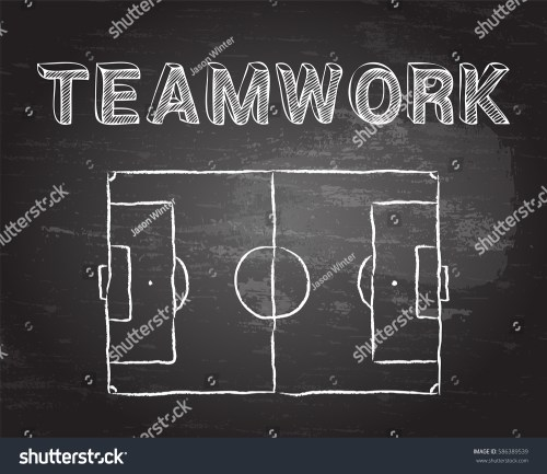 small resolution of soccer football pitch diagram and teamwork word on blackboard
