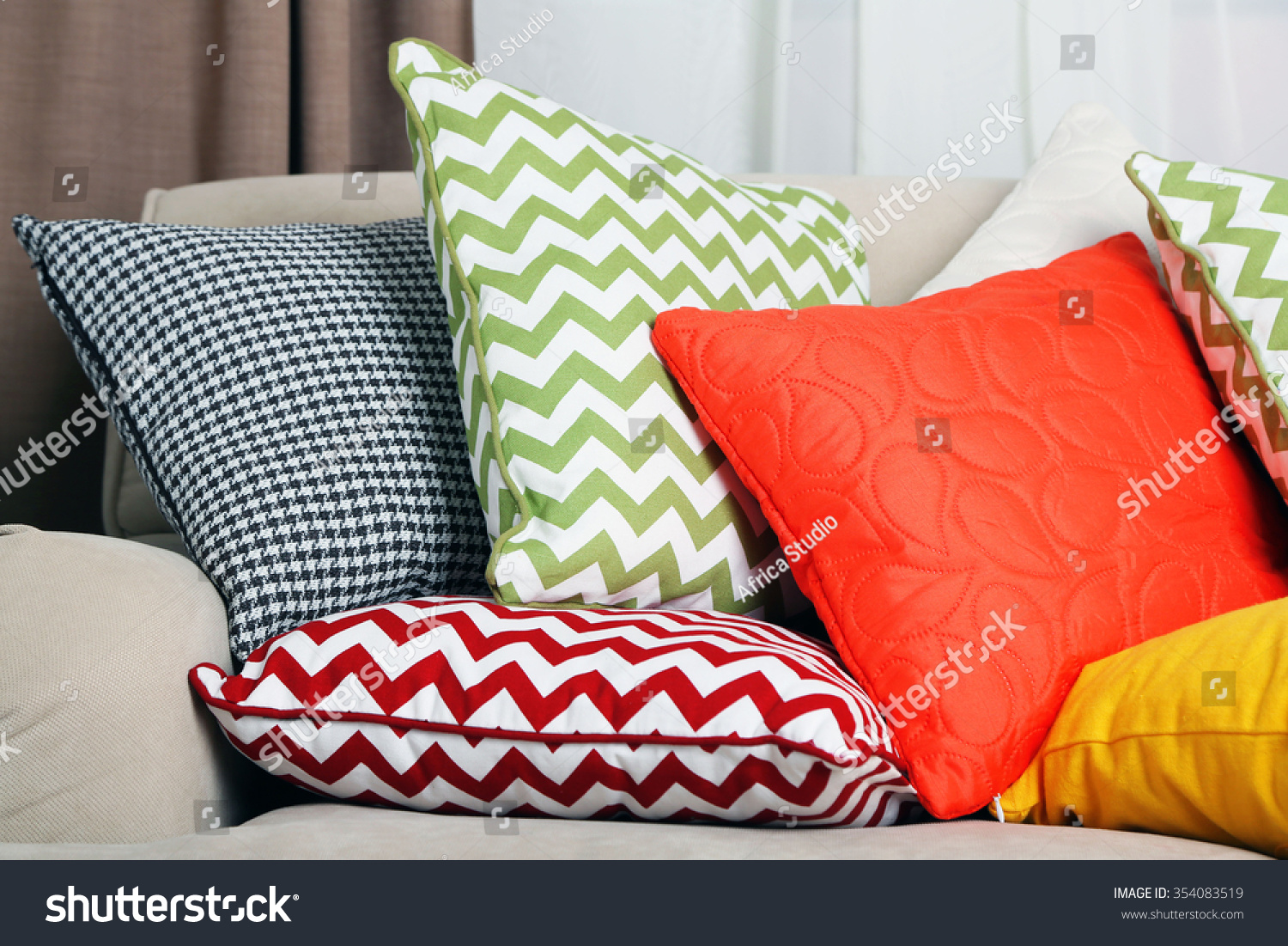 bright colored sofa pillows bristol warehouse with colorful in room stock photo 354083519