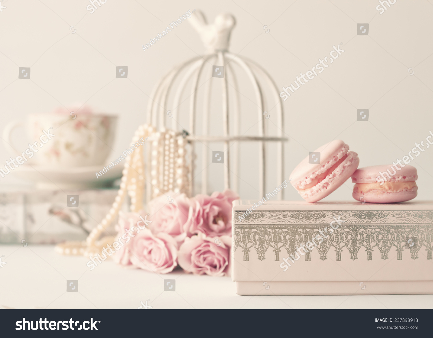 Soft Pastel Vintage Still Life With Macaroons And Roses Stock Photo 237898918  Shutterstock