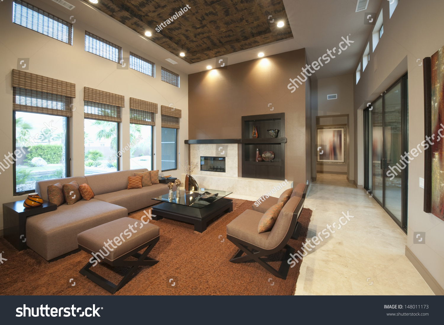 Spacious Living Room Double Height Ceiling Stock Photo
