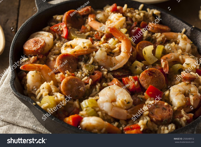 Spicy Homemade Cajun Jambalaya Sausage Shrimp Stock Photo 250648912  Shutterstock