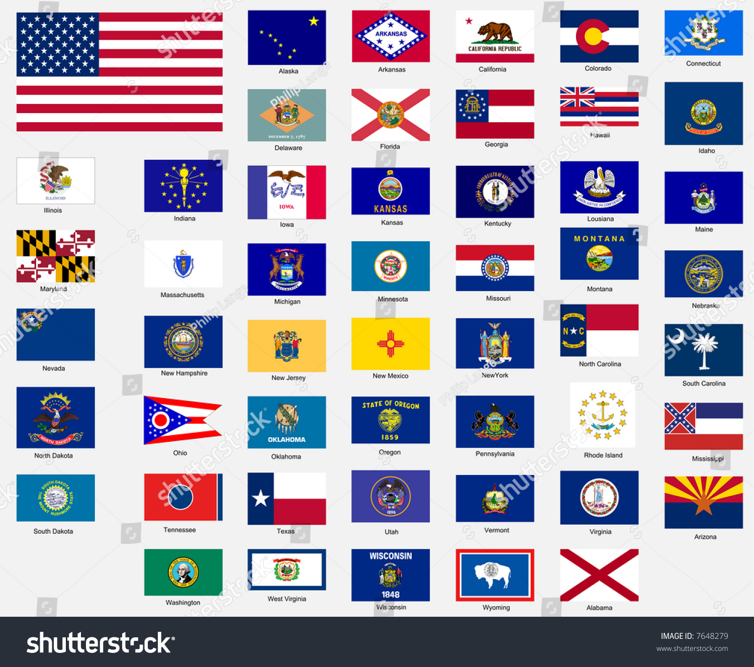 States Flags United States America Stock Illustration