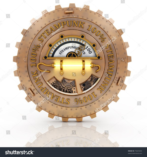 Steampunk Label Whith Reflection Isolated Stock