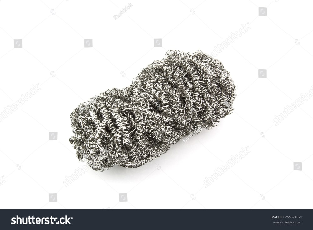 medium resolution of steel wool dishwashing on a white background