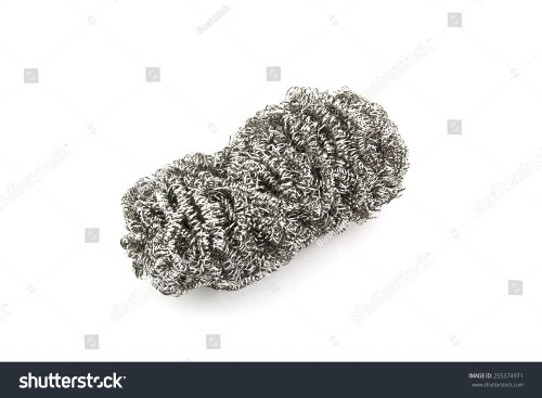 small resolution of steel wool dishwashing on a white background