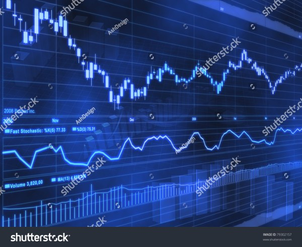 Stock Market Chart Blue Background 79302157