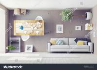 Strange Living Room Interior 3d Design Stock Illustration ...