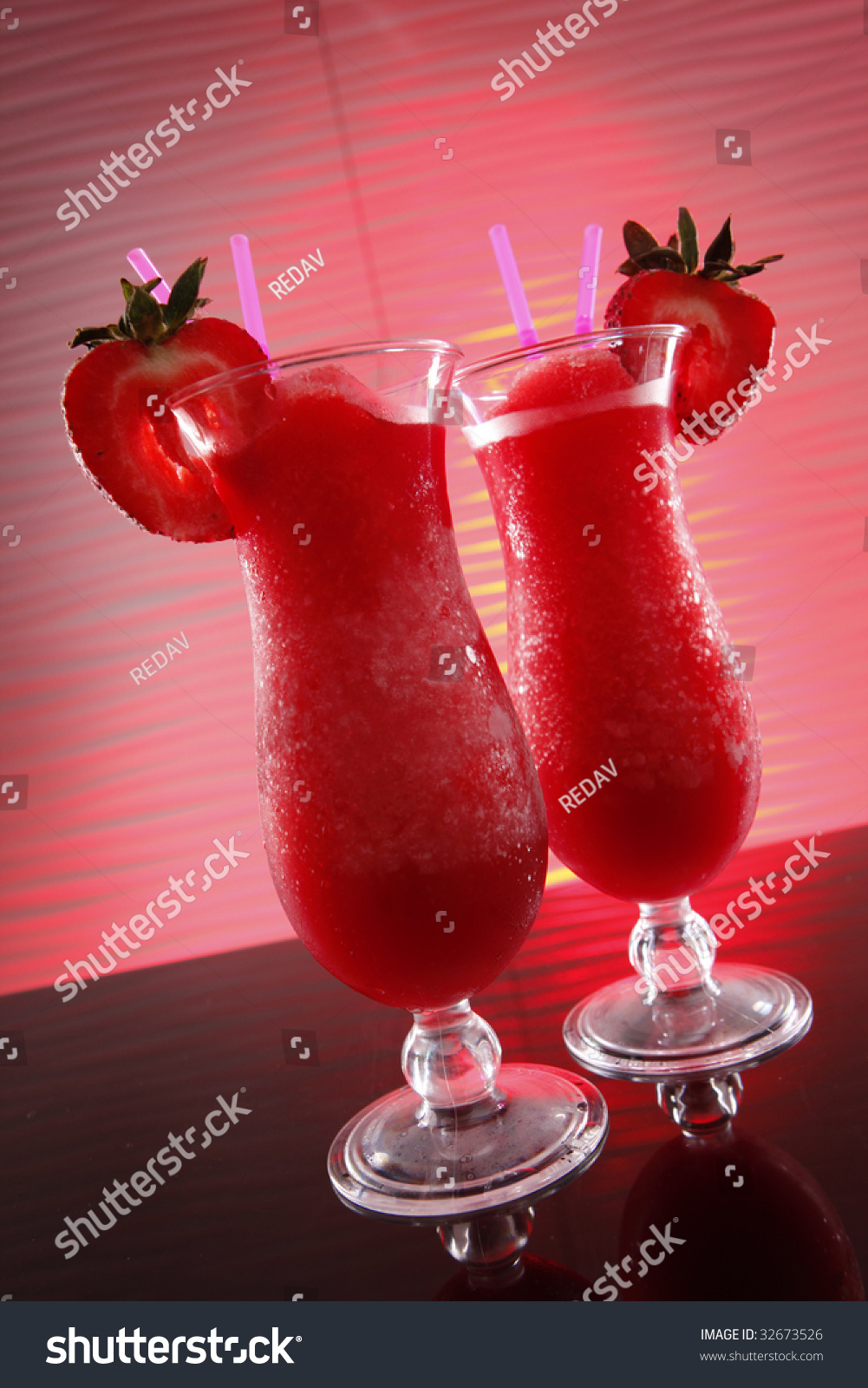 Strawberry Daiquiri Cocktail On Wavy Red May Be An Innocent Smoothie If There'S No Alcohol In It Stock Photo 32673526 : Shutterstock