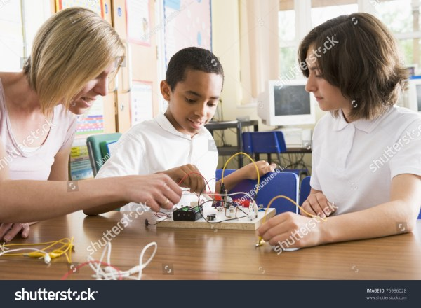 Students Teacher Class Electronic Project Stock